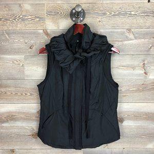 Elie Tahari Ruffle Collar Puffer Vest